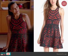 Santana's black and red patterned dress on Glee.  Outfit Details: http://wornontv.net/43962/ #Glee