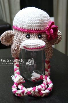 SAM   SALLY Sock Monkey Crochet Hat Pattern --- Limited Time Sale -- 46bb6acddbd1