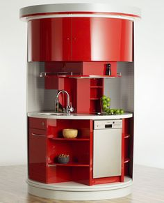 Revolving circular compact kitchen - would go well in a tiny space.