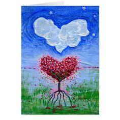 Two Hearts Surrealist Art Greeting Card