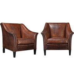 Delicieux Pair Of Leather Club Chairs