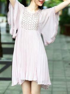 Ruffle Sleeve Beading Mesh Pleated Dress -SheIn(Sheinside)