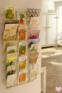 Postcard display, a great way to showcase letters, notes and kid's small art!