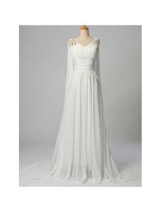 Chiffon V-Neckline Sheath Wedding Dress with Watteau Train - Bridal Gowns - RainingBlossoms