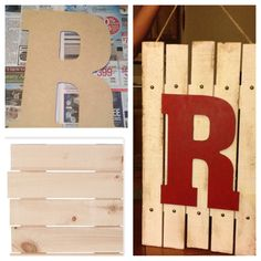Wood initial pallet. Purchased a wood pallet from Joann's. Along with the large R. Painted the pallet white then used sandpaper, a brick and hammer to rough it up. Next we painted the R red. Then we hot glued the R on the pallet. For a little extra touch we used small round upholstery pins that we hammered into the pallet. Last, we stapled jute to the back so that it can hang. It took us about 30 mins to make.
