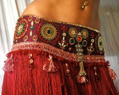Perfectly Beautiful Belly Dance belt beaded sequined in maroon gold green and red by PoisonBabe