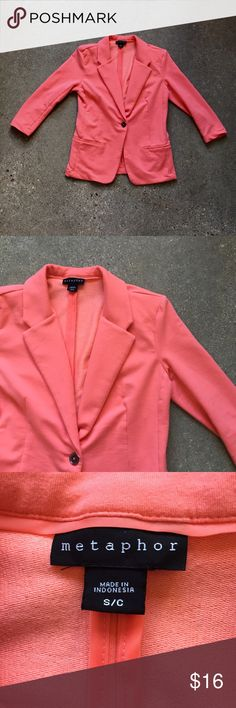 Metaphor • Coral Blazer Worn and washed a few times. No major signs of wear. No PayPal, no trades, offers welcome via offer button only! Bundle to save 😊 [bin:2] Metaphor Jackets & Coats Blazers