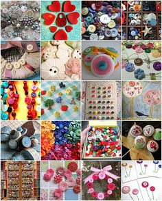 Button Collage, Use Self Adhesive Buttons from Oriental Tradiing for Younger Hands