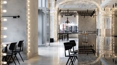 More than dimmable light bulbs and a selfie-friendly fabric fill the grand interior of this cocktail bar on Moscow's Red Square in Russia. Dressing Room Mirror, Moscow Red Square, Dimmable Light Bulbs, Bar Interior, Minimalist Furniture, Home Studio, Beautiful Space, Office Interiors, Design Firms