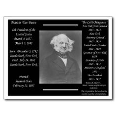 8th President Martin Van Buren facts and information postcard.