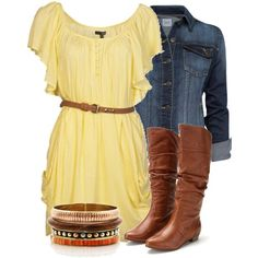 Yellow dress, denim jacket, and brown boots.
