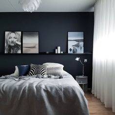 Dark Room Colors and Vibrant Wall Paint Changing Interior Dimensions Visually Blue Bedroom, Bedroom Colors, Dream Bedroom, Home Decor Bedroom, Bedroom Wall, Bedroom Posters, Charcoal Bedroom, Bedroom Chair, Awesome Bedrooms