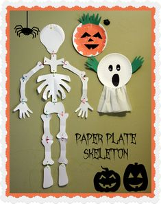 #Halloween Skeleton Paper Plate Craft. Fun decoration idea! Kids can draw funny faces to talk about emotions as well. #preschool (pinned by Super Simple Songs)