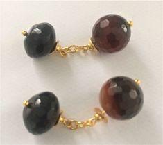 Vintage gilt chain link banded Agate & black Onyx cuff links, ca. 1960 - Catawiki