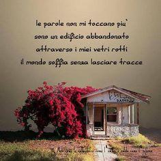 Le parole non mi toccano più sono edifici abbandonati, attraverso i miei vetri rotti il mondo soffia senza lasciare traccia. (cit.)