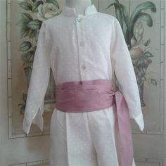 Conjunto camisa & pantalón en plumeti crudo con fajin en rosa. Cubete´s Kids - www.cubeteskids.es
