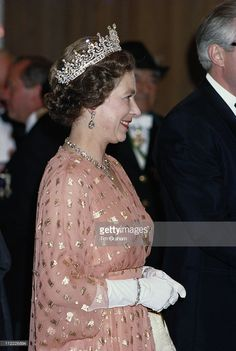 Queen Elizabeth II smiling while attending a banquet in Mainz during a State Visit to West Germany, May (Photo by Tim Graham/Getty Images) Hm The Queen, Royal Queen, Her Majesty The Queen, Save The Queen, Royal Tiaras, Royal Jewels, Royal Uk, Royal Life, Royal House