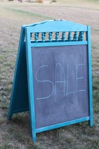 Chalkboard made from baby crib