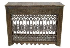 20th-C. Iron Balcony Console One-of-a-kind console made from an antique cast iron balcony railing. The front of the console still has layers of its original painted finish.