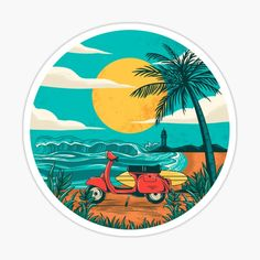 Beach stickers featuring millions of original designs created by independent artists. Vespa Illustration, Beach Illustration, Lany, Summer Drawings, Summer Logo, Murals Street Art, Les Themes, Tumblr Stickers, Lilo And Stitch