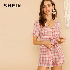 To find out about the V-neck Knot & Button Front Plaid Top & Shorts Set at SHEIN, part of our latest Two-piece Outfits ready to shop online today! Two Piece Outfit, Lady V, Types Of Sleeves, Fashion News, Woman Fashion, Cold Shoulder Dress, Short Sleeve Dresses, Plaid, V Neck