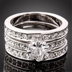 High Quality 3 Circles Engagement Rings Sets For Women Gold Plated/ Rose Gold Plated 3 Ring Set CZ Couple Jewelry J01086