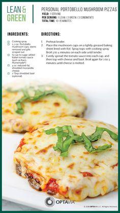 Lean and Green Personal Portobello Mushroom Pizzas Medifast Recipes, Diet Recipes, Vegetarian Recipes, Cooking Recipes, Healthy Recipes, Green Vegetarian, Lean Recipes, Vegetarian Pizza, Vegetarian Barbecue