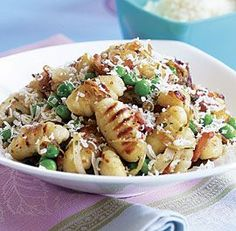 Pan-Fried Gnocchi with Bacon, Onions, & Peas - one of my fav recipes of all time (EASY to make)