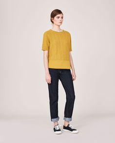 Women's Dove Wool Cotton Guernsey Short Sleeve Pullover | Toast  #toastlatesummer15