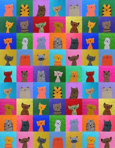 Cats quilt pattern at Shiny Happy World