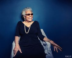 """((""""Eighty is OK. But eighty-five is a knockout."""" -Maya Angelou.)) """"Dressed in a long black sheath, with a white necklace and matching earrings, Angelou is still beautiful, and wonderfully charismatic. She's also winsome, playful, aware of how to break the ice. She sings a song she originally wrote for Roberta Flack."""" by Thessaly La Force and Photographed by Taylor Jewell."""