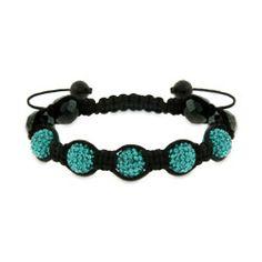 Shamballa Style Austrian Crystal Blue Zircon and Hematite Bracelet, $42