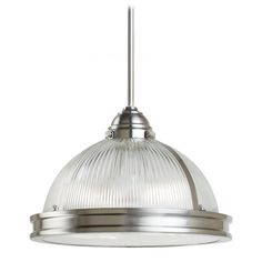 Sea Gull Lighting Pendant Light with Clear Glass in Brushed Nickel Finish | 65061-962 | Destination Lighting