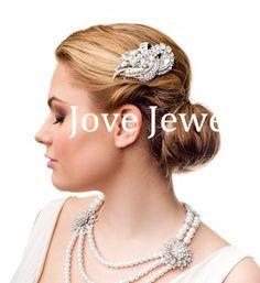Showy Ribbon Hair Accessories Tear Drop Rhinestone Crystal Clear Flower Hair Comb Tiara For Wedding Bridal Hair Jewelry XLL184