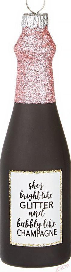 Holiday Lane Fashion Week Champagne Ornament #ChristmasDecor #HolidayDecor #Christmas Magical Christmas, Pink Christmas, Merry Christmas, Christmas Decorations, Christmas Ornaments, Holiday Decor, Love Rainbow, Glitz And Glam, Champagne
