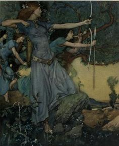 William Russell Flint illustration forLe morte Darthur;   'I am a gentlewoman that useth here in this forest hunting, and God knoweth I saw ye not; but as here was a barren hind at the soil in this well, and I weened to have done well, but my hand swerved. Alas, said Sir Launcelot, ye have mishieved me. And so the lady departed, and Sir Launcelot as he might pulled out the arrow, and left the head still in his buttock, and so he went weakly to the hemitage ever more bleeding as he went.