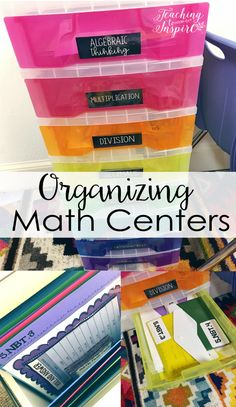 Lots of tips for organizing math centers for daily/weekly use and for future use. Affordable options also included! Math Games, Math Activities, Math Center Organization, Classroom Organization, Small Group Organization, Classroom Management, Organization Ideas, Third Grade Math, Second Grade