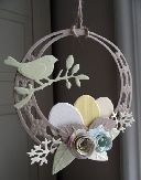 handmade Easter ornament ... Marianne dies ... bird on a bough ... eggs in a nest ... rolled paper flowers ... asymmetric frame ... sweet!!