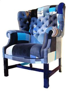 Comfy like and old pair of jeans denim wing back chair | Denim | Furniture Revival ♦•.¸¸.•♦⊰