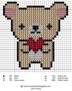 Bear with heart - free cross stitch or hama beads chart