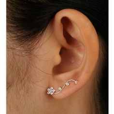 925 Sterling Silver Clear Crystal Floral Cuff Earrings Fashion Jewelry for Women, Teens, Girls - Nickel Free