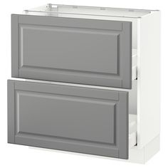 "IKEA - SEKTION, Base cabinet with 2 drawers, white, Bodbyn gray, 30x15x30 "", , MAXIMERA drawer is a smooth-running, full-extension drawer with built-in dampers so that it closes slowly, softly, and quietly.Sturdy frame construction, ¾"" thick."
