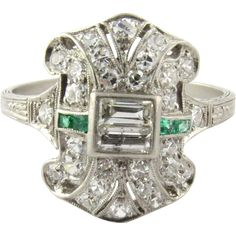 Antique Victorian Diamond and Emerald Ring Size 7 from Gold and Silver Brokers on RubyLane.com