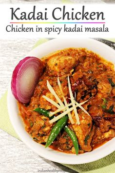 kadai chicken is a spicy chicken dish cooked in fresh ground kadai masala. This aromatic and delicious rice is eaten with rice or roti. via recipes indian Kadai chicken recipe Healthy Recipes, Veg Recipes, Curry Recipes, Indian Food Recipes, Cooking Recipes, Easy Indian Chicken Recipes, Pakistani Chicken Recipes, Indian Chicken Dishes, Cooking Time