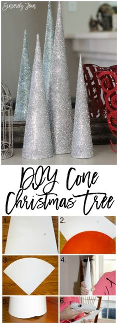 DIY Cone Christmas Tree - This step by step tutorial will show you exactly how to make these beautiful silver Christmas trees! They are simple and inexpensive to make! | www.SincerelyJean.com
