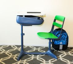 School Desk Chair Combo   Blue and Green   1950 s  School desk and chair combo with chalkboard top  1940 s children s  . School Desk And Chair Combo. Home Design Ideas