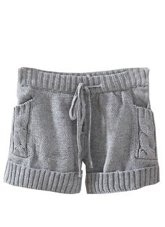 Grey Drawstring Cable Knit Sweater Shorts US$24.43