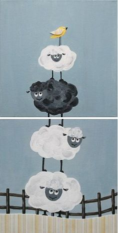Shop for painting on Etsy, the place to express your creativity through the buying and selling of handmade and vintage goods. Painting For Kids, Art For Kids, Painting & Drawing, Sheep Illustration, Sheep Art, Whimsical Art, Cute Drawings, Painted Rocks, Art Lessons