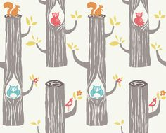 "1 yard (36"") of WOODLAND FRIENDS from the Circa 52 collection by BIRCH fabrics 100 percent organic owl squirrel. $16.50, via Etsy."