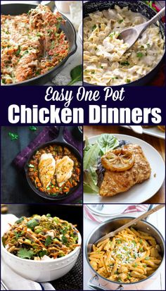 Easy One Pot Chicken Dinners featuring everything from Skillet Lemon Chicken to One Pot Buffalo Chicken Pasta!